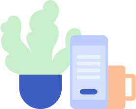 plants, phone and cup